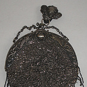 Vintage Beaded Belt Purse with Clip & Lovely Dolphin Frame