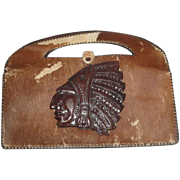 Vintage Cowhide Leather/Fur Handbag Purse with Tooled American Indian