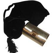 Black Velvet Pouch Purse with Cylindrical Tube Compact by Wadsworth