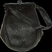 Vintage Crepe Seal Skin Purse Handbag with Pencil, Wallet & Mirror
