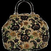 Vintage Large Purse Handbag with Beaded Flowers & Leaves