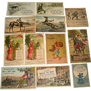 12 Victorian Advertising Trade Cards Dry Goods, Horse Items, Shoes etc.  Danbury Conn.