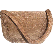 Vintage Copper Tone Beaded Purse Handbag with 2 Comartments