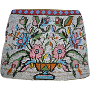 Vintage Beaded Purse with Planter of Flowers