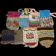 8 Vintage Beaded Purses Floral Reticule Steel Beads +  LOT A
