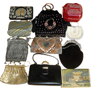 11 Vintage Purses - Beaded Tooled Leather Embroidered Plastic +  LOT C