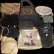 12 Vintage Purses - Wood Leather Crocheted Beaded Vinyl ++   LOT E - Red Tag Sale Item
