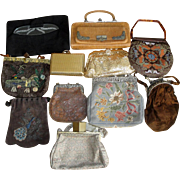11 Vintage Purses - Whiting & Davis Mesh Asian Embroidered Cherub Frame ++  LOT H