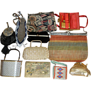 11 Vintage Purses - Asian Tooled Leather Whiting & Davis Mesh ++   LOT I