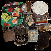 11 Vintage Purses - Beaded Tooled Leather Telephone Cord ++  LOT K