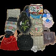 10 Vintage Beaded Purses Victorian Reticules Steel Beads ++  LOT Q