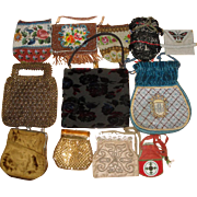 12 Vintage Purses - Suede Beaded Czech Whiting & Davis Mesh ++  LOT 1 - Red Tag Sale Item
