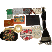 12 Vintage Purses - Enameled Mesh Leather Beaded Misers ++   LOT 2