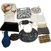 12 Vintage Purses - French Czech Beaded Sequins & Rhinestons ++  LOT 6