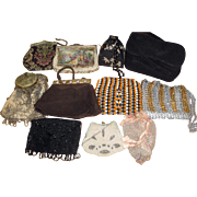 11 Vintage Purses - Tapestry Asian Silk Suede Mesh ++   LOT 8
