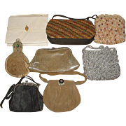 8 Vintage Purses LOT X -- Goatskin Lola Menko Jeweled Sphinx Clasp ++ - Red Tag Sale Item