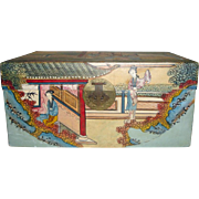 c1890 Chinese Wooden Trunk with Hand Painted Leather Covering