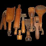 9 Vintage Wood Kitchen Tools Utensils, Scoops +