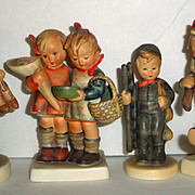 4 Vintage Goebel Hummel Figurines - Boots, Going to Grandma's, Chimney Sweep, Volunteers