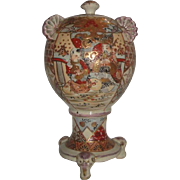 OLD Asian Vase Jar with Cover - Hand Painted Men & Decoration