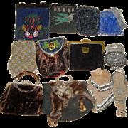 12 Vintage Purses - Genuine Fur, Taxidermy Fox, Beaded, Belt Purse with Horse Medallion +