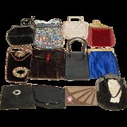 12 Vintage Purses - Whiting & Davis Mesh, Italy, Corde Clutch, Cherub Angels Frame +