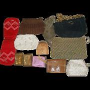 12 Vintage Purses - Crocheted Corde Souvenir Leather Pants Mesh Cigarette Cases +