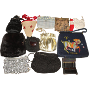 12 Vintage Purses - Fabrics, French Tapestry, Real Fur, Aries Astrological, Coty Compact ++