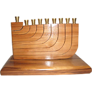Nice Red Gum Wood Kinesthetic Menorah by Gary Markow - Movable Branches