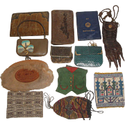 12 Vintage Purses - Tooled Leather, 1897 Sterling Silver Border, Crocodile Claw, Beaded ++