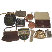 12 Vintage Purses & Wallets - Quaker Oats Marbles Bag, Sterling Frame Udall & Ballou, Taffeta Whiting & Davis ++