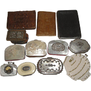 12 Vintage Purses - 1889 Crocodile Wallet, Tooled Leather, Mother of Pearl +