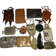 12 Vintage Purses - Leather & Sterling Silver, Taxidermy Frog, Whiting & Davis Mesh ++