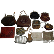12 Vintage Purses - Leather, Drawstring, Mesh, Beaded 1863 ++