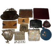 12 Vintage Purses - Leather with Sterling Silver Frames, Suede Indian, Mesh & Beaded