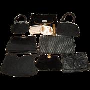 8 Vintage Black Purses - Whiting & Davis Enameled, Coblentz Velvet, Genuine Corde ++
