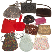 12 Vintage Purses - Carpet Bag, Red Frank Wernier, French Tapestry, Beaded +