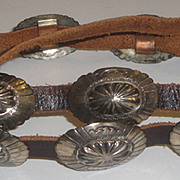 Vintage Western Leather Belt with 15 Sterling Silver Conchos & Buckle