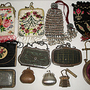 12 Vintage Coin Purses - Glass & Steel Beads Filigree Leather Cartier ++