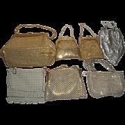 7 Vintage Goldtone & Silvertone Mesh Purses - Most Whiting & Davis