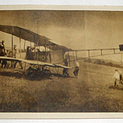 Vintage Photo Postcard of Bi-Plane Airplane with Men & Boys