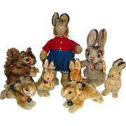 8 Vintage Steiff Bunny Rabbits & Squirrel