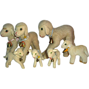 7 Vintage Steiff Lamb Lamby Animals with Glass Eyes Buttons & Tags