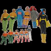 12 Vintage Super Hero Toys Action Figures - Batman Aqua Man Wonder Woman ++