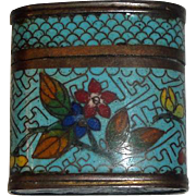Vintage Asian Cloisonne Seal or Snuff Box with Flowers