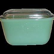 Vintage Fire-King Jadite Jadeite Refrigerator Dish with Original Patterned Cover