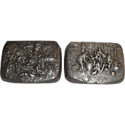 2 Vintage Denmark Pill Boxes with Repousse Designs of People