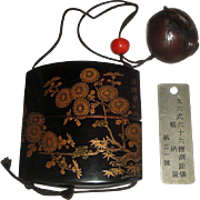 Vintage Japanese Inro Stacking Box with Carved Wood Netsuke + Metal Tag