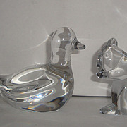 2 Baccarat France Crystal Figurines ~ Bird & Squirrel