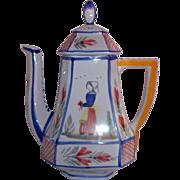 Quimper France Briton Woman Pottery Coffee Pot